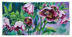 Hellebore Flowers Beach Sheet