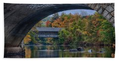 Henniker Covered Bridge No. 63 Beach Towel by Jeff Folger