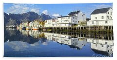Henningsvaer Harbour Beach Towel by Heiko Koehrer-Wagner