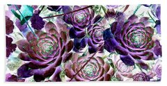Hens And Chicks - Botanical - Indigo Blue And Purple Beach Sheet by Janine Riley