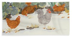 Hens In The Vegetable Patch Beach Sheet by Linda Benton
