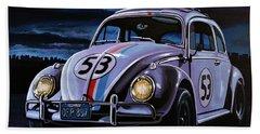 Herbie The Love Bug Painting Beach Towel