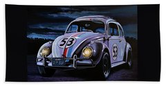 Herbie The Love Bug Painting Beach Towel