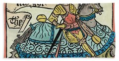 Here Begynneth The Knightes Tale, Illustration From The Canterbury Tales By Geoffrey Chaucer Beach Towel