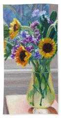 Here Comes The Sun- Sunflowers By The Window Beach Towel