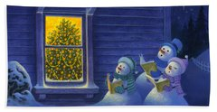 Here We Come A Caroling Beach Sheet by Michael Humphries