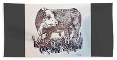Polled Hereford Bull  Beach Sheet by Larry Campbell