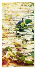 Heron Among Lillies Photography Light Leaks Beach Towel
