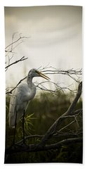 Heron At Dusk Beach Sheet by Bradley R Youngberg