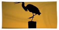 Heron At Sunrise Beach Towel by Leticia Latocki
