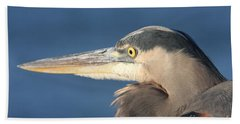 Heron Close-up Beach Sheet by Christiane Schulze Art And Photography
