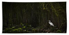 Heron In Grass Beach Sheet by Bradley R Youngberg