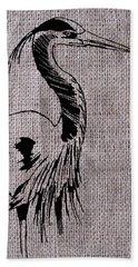 Heron On Burlap Beach Towel
