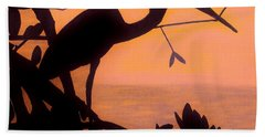 Beach Towel featuring the drawing Heron Sunset by D Hackett