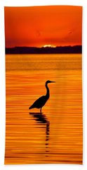 Heron With Burnt Sienna Sunset Beach Towel