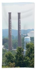Beach Towel featuring the photograph Hershey Smoke Stacks by Michael Porchik