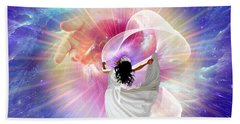 He's Here Beach Towel by Dolores Develde