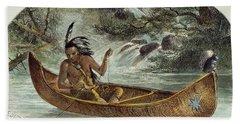 Hiawatha Fishing For Nahma Beach Towel