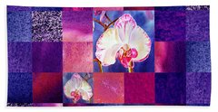 Hidden Orchids Squared Abstract Design Beach Towel