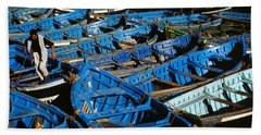 High Angle View Of Boats Docked Beach Towel