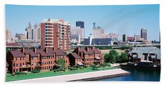 High Angle View Of City Buildings, Erie Beach Towel