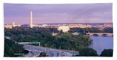 High Angle View Of Monuments, Potomac Beach Towel
