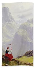 Beach Towel featuring the painting High In The Mountains by Hans Andreas Dahl