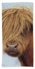 Highland Cow Painting Beach Towel