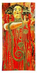 Higieja-according To Gustaw Klimt Beach Sheet by Henryk Gorecki