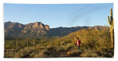 Hiker Standing On A Hill, Phoenix Beach Towel by Panoramic Images
