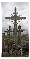 Hill Of Crosses 06. Lithuania.  Beach Sheet by Ausra Huntington nee Paulauskaite
