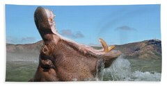 Hippopotamus Bursting Out Of The Water Beach Towel