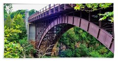 Beach Towel featuring the photograph Historic Ausable Chasm Bridge by Patti Whitten