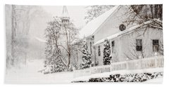 Beach Towel featuring the photograph Historic Church In Oella Maryland During A Blizzard by Vizual Studio