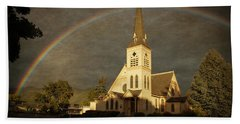 Historic Methodist Church In Rainbow Light Beach Towel by Mick Anderson
