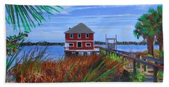 Beach Towel featuring the mixed media Historic Ormond Boathouse by Deborah Boyd