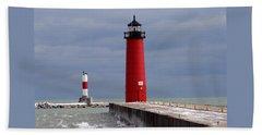 Beach Towel featuring the photograph Historic Pierhead Lighthouse by Kay Novy