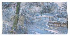 Hoar Frost Morning Beach Towel