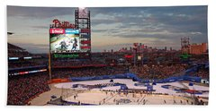 Hockey At The Ballpark Beach Towel by David Rucker