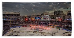 Hockey At Yankee Stadium Beach Towel by David Rucker