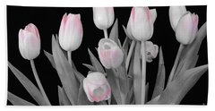 Beach Towel featuring the photograph Holland Tulips In Black And White With Pink by Jeannie Rhode