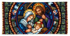 Holy Family Christmas Story Beach Towel