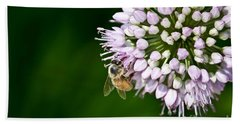 Honey Bee And Lavender Flower Beach Sheet