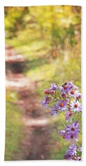 Beach Towel featuring the photograph Honey Bee On Purple Aster by Brooke T Ryan