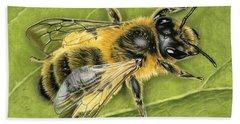 Honeybee On Leaf Beach Towel