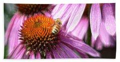 Honeybee On The Coneflower Beach Towel