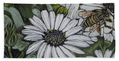 Honeybee Taking The Time To Stop And Enjoy The Daisies Beach Sheet by Kimberlee Baxter