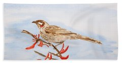 Honeyeater Coming Home Beach Sheet by Elvira Ingram