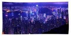 Hong Kong In Purple Beach Towel
