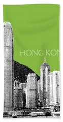 Hong Kong Skyline 1 - Olive Beach Towel